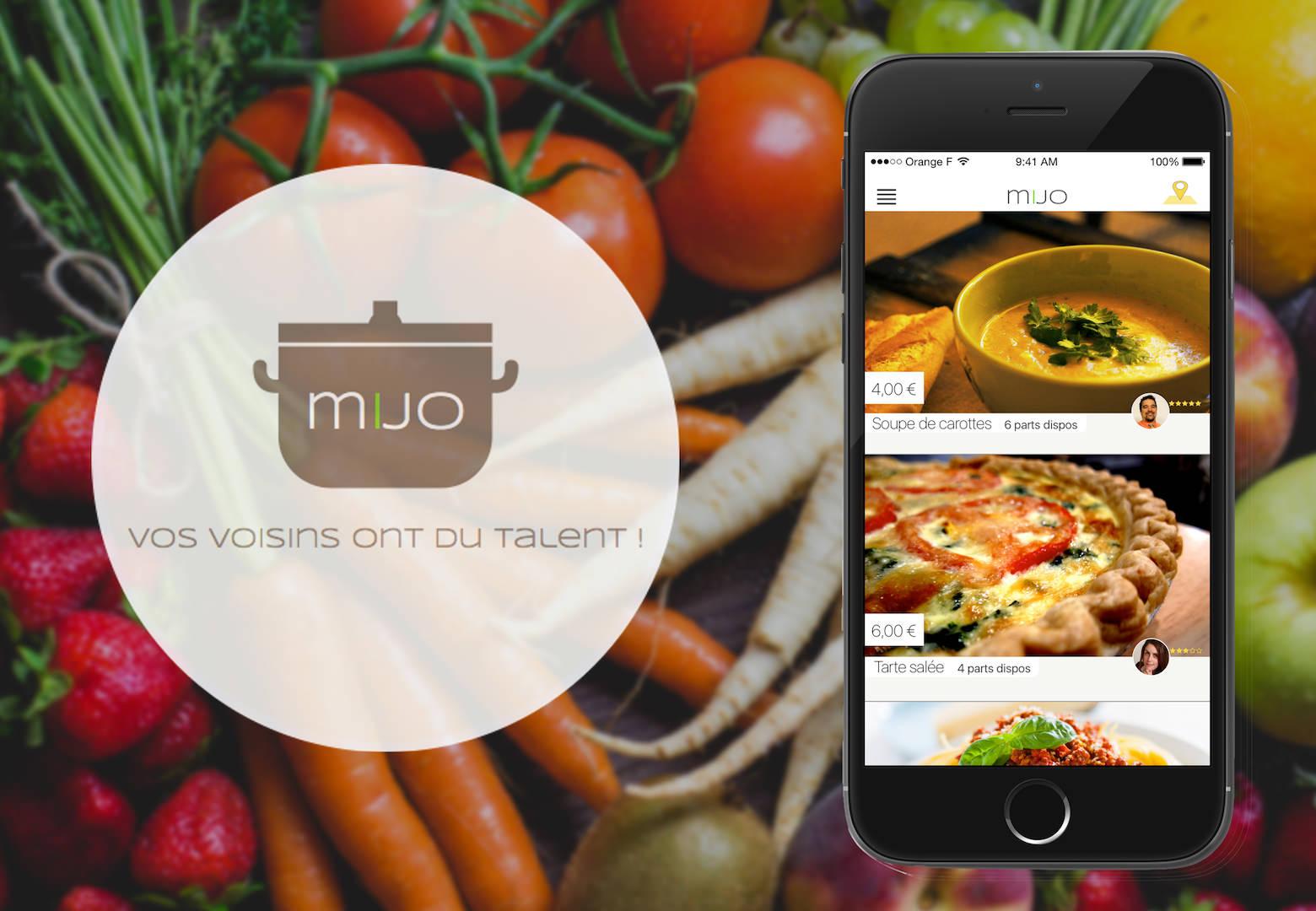 iPhone 6 et logo MIJO sur fond légumes